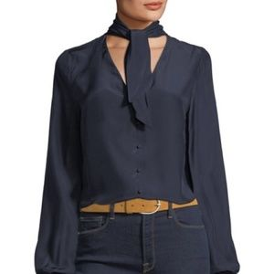 Frame Denim Tie Neck Silk Blouse Navy Large